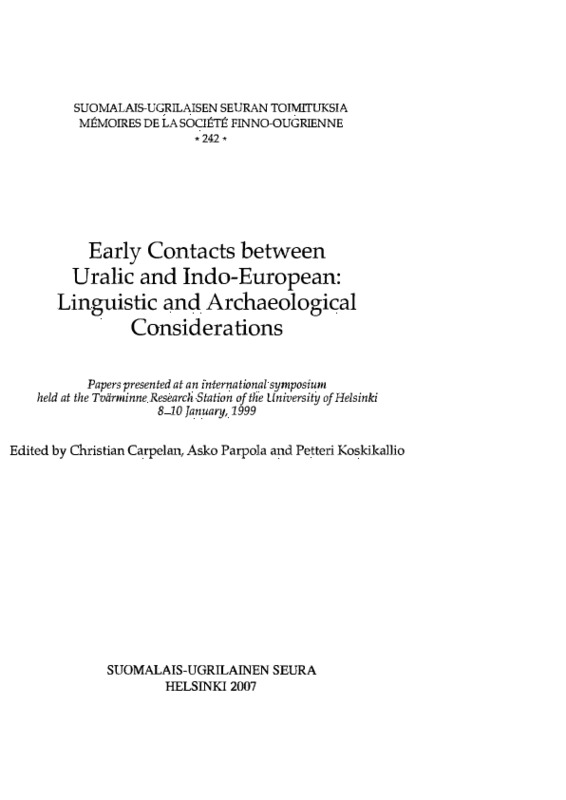 09af01f3 Early Contacts between Uralic and Indo-European: Linguistic and  Archaeological Considerations