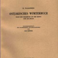 H. Paasonens Ostjakisches Wörterbuch nach den Dialekten an der Konda und am Jugan