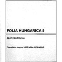 Folia Hungarica 5 – Fejezetek a magyar költői stílus történetéből