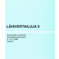 Lähivertailuja 9 – Suomalais-virolainen kontrastiiviseminaari 3.–5.5.1996, Lammi.