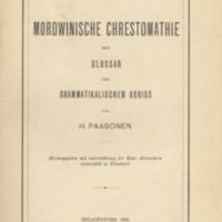Mordwinische Chrestomathie mit Glossar und grammatikalischem Abriss