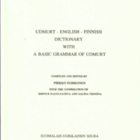 Udmurt–English–Finnish Dictionary with a Basic Grammar of Udmurt