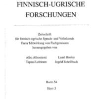 Finnisch-Ugrische Forschungen 54: Heft 3