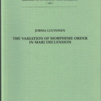 The variation of morpheme order in Mari declension (SUST 226)