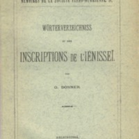 Wörterverzeichniss zu den Inscriptions de l'Iénisseï