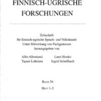 Finnisch-Ugrische Forschungen 54: Heft 1—2
