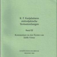 K. F. Karjalainens südostjakische Textsammlungen. Band III (SUST 247)