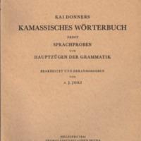 Kai Donners Kamassisches Wörterbuch nebst Sprachproben und Hauptzügen der Grammatik