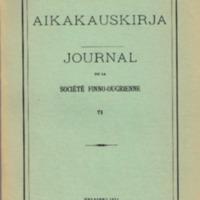 Suomalais-Ugrilaisen Seuran Aikakauskirja 71