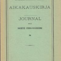 Suomalais-Ugrilaisen Seuran Aikakauskirja 70