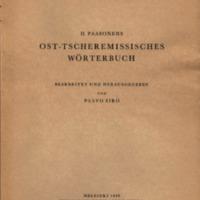 H. Paasonens Ost-tscheremissisches Wörterbuch