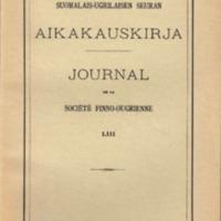 Suomalais-Ugrilaisen Seuran Aikakauskirja 53